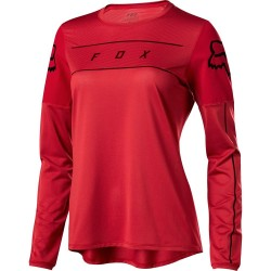T-SHIRT DONNA BICI DOWNHILL MOUNTAIN BIKE FOX FLEXAIR LONG SLEEVE JERSEY CARDINAL